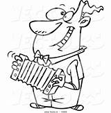 Accordion Coloring Cartoon Playing Outline Toonaday sketch template