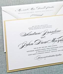 andrea script metallic gold layered wedding invitation With pretty formal wedding invitations