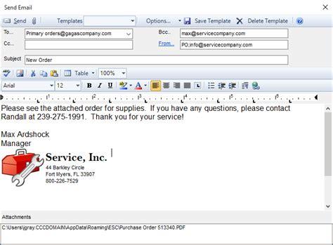 email  purchase order   vendor esc