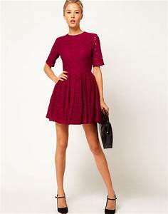 asos collection skater dress in lace in red burgundy lyst With robe patineuse mango