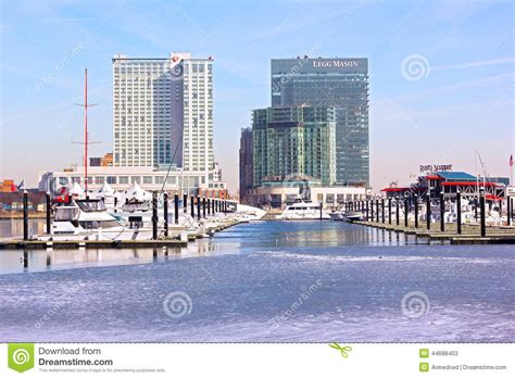 Urban Winter Scene Of Inner Harbor In Baltimore. Editorial ...