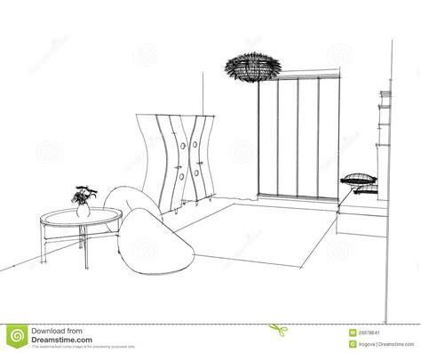 croquis de chambre croquis graphique une chambre à coucher image stock