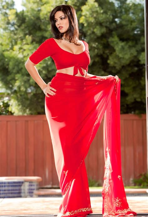 Hd Background Sunny Leone In Red Hot Saree Wallpapers