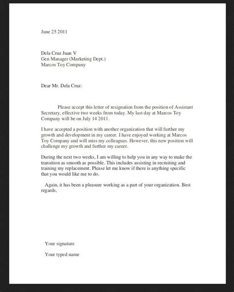 resignation letter template examples http