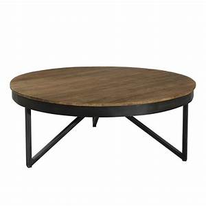 Table Basse Ronde 90cm Bois Teck Pieds Mtal Tinesixe So