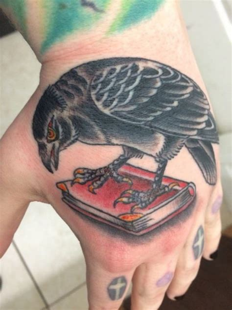 colorful raven hand tattoo creativefan