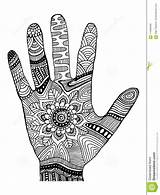 Coloring Decorative Palm Hand Ornaments Vector Illustration Cartoon Abstract Ethnic Preview sketch template