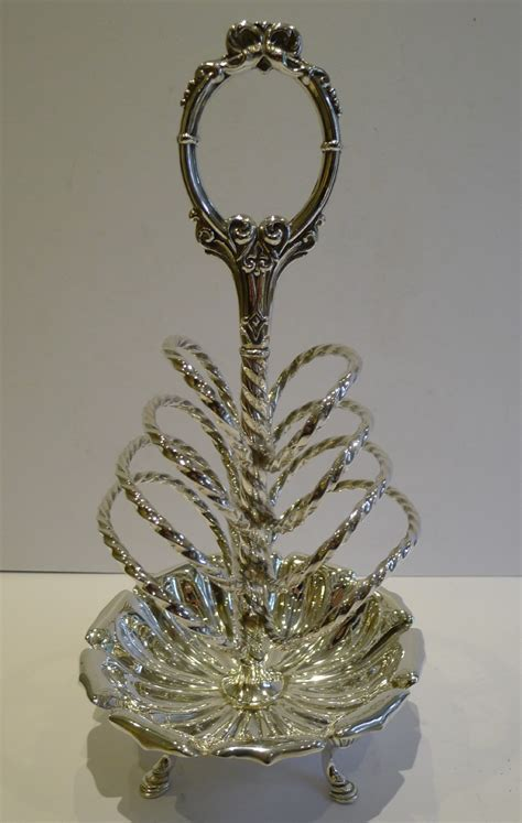 fabulous antique english silver plated toast rack letter holder