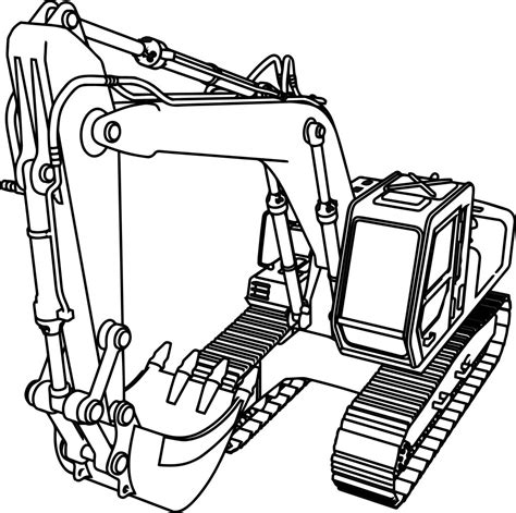 Coloring Excavator by Excavator Drawing Free On Ayoqq Org