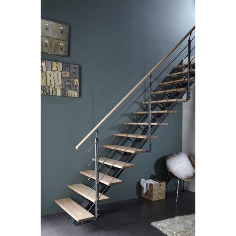escalier droit mona marches structure aluminium gris