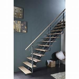 Escalier Droit Mona Structure Aluminium Marche Bois