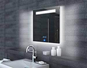 Badspiegel Mit Led Beleuchtung Und Ablage : lichtspiegel led uhr und touch schalter 60x65 ml6506 ~ Bigdaddyawards.com Haus und Dekorationen