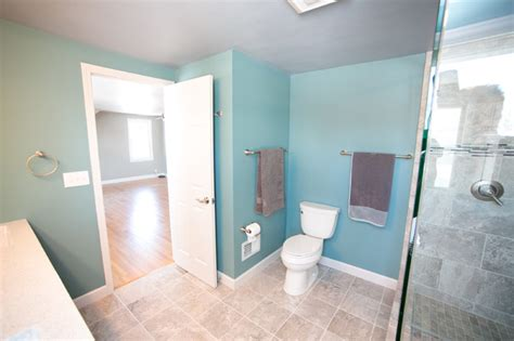 closet conversion to master bath transitional bathroom