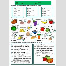 Countable And Uncountable Nouns Worksheets Rocioengteacher