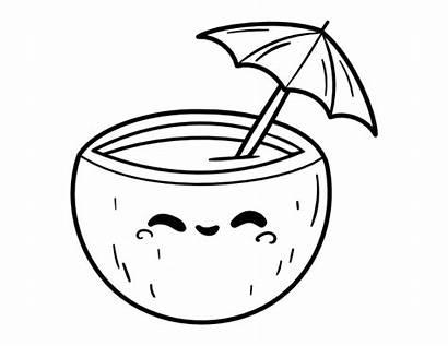 Coloring Drink Kawaii Coconut Printable Avocado Cartoon