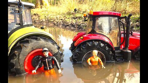 bruder traktor claas  case   mud youtube