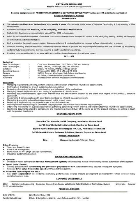 It Resume Format by Impressive Resume Format Freshers Experienced Cv Sle