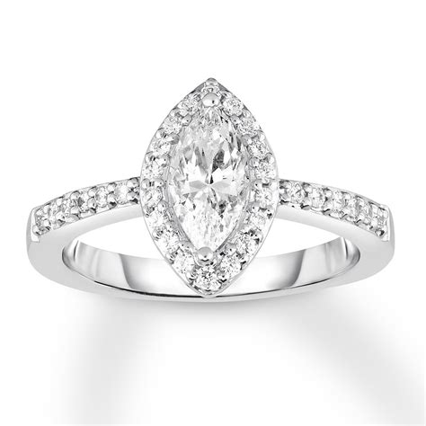 diamond engagement ring  ct tw marquise  white gold