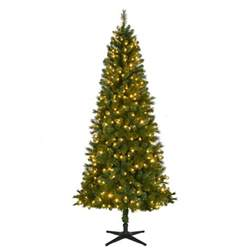 home accents 7 5 ft pre lit led wesley spruce slim artificial tree with color