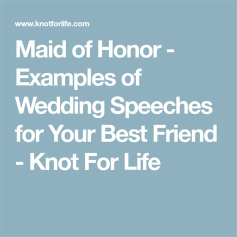 Maid of Honor - Examples of Wedding Speeches for Your Best ...
