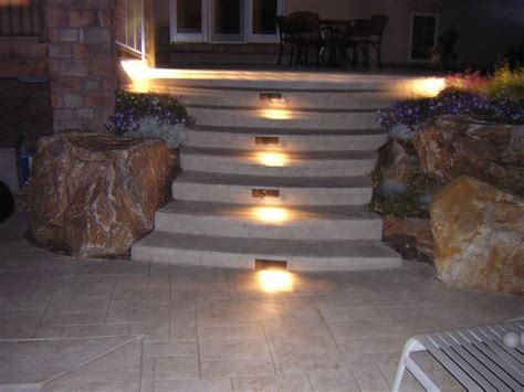 sted concrete decking and stairs with lighting