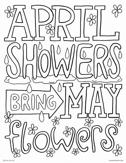 Coloring April Pages Flowers Showers Bring Spring