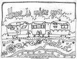 Colouring Travel Coloring Pages Camping Adult Trailers Camper Printable Instant Caravan Whimsical Line Sheets Park Rv Trailer Embroidery Books Etsy sketch template