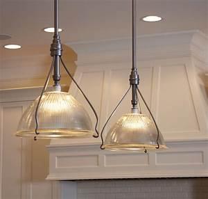 Vintage holophane pendants traditional kitchen island