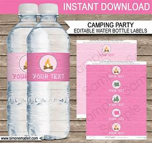 Pink girl camping party water bottle labels editable for How to put labels on bottles
