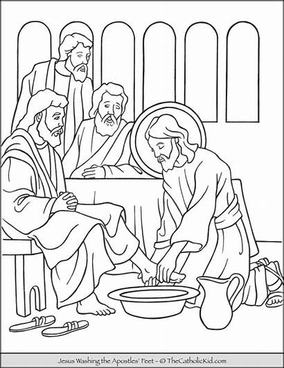 Coloring Jesus Feet Washing Thursday Holy Apostles