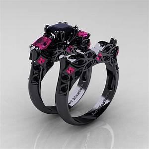 designer classic 14k black gold three stone princess black With black wedding ring with pink diamonds