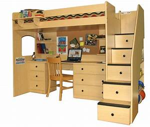 Full Size Loft Bed With Desk And Storage Also Stairs ...