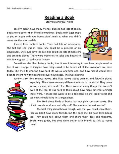 reading comprehension worksheet reading  book