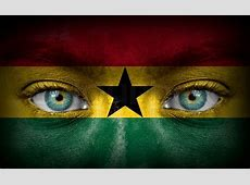 Human face painted with flag of Ghana Stock Photo