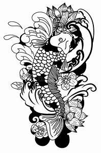 Dessin Fleur De Cerisier Japonais Noir Et Blanc : style de dessin noir et blanc de tatouage de koi carp ~ Melissatoandfro.com Idées de Décoration