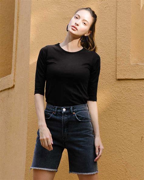 Buy 3/4th Sleeve T Shirts - Phantom Black Plain Online India | Bewakoof.com