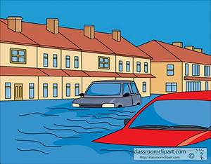 Weather Clipart- flooding_of_city_and_cars - Classroom Clipart