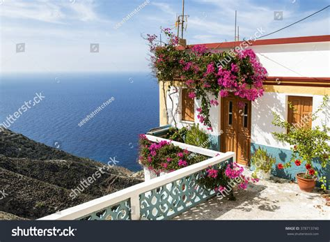 Beautiful House On Cliff Olympos Karpathos Stock Photo