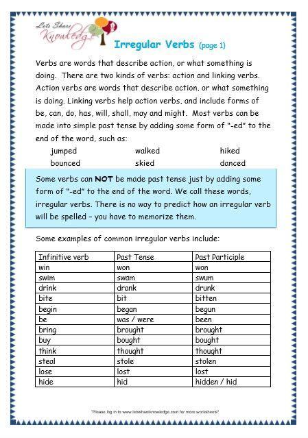 grade  grammar topic  irregular verbs worksheets mo