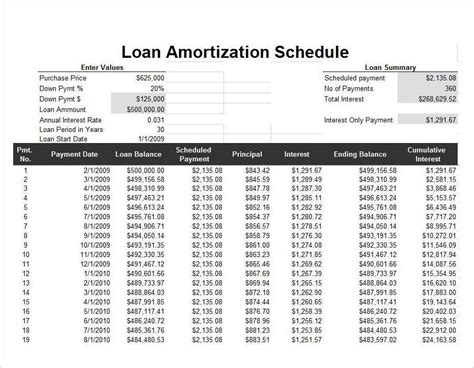 loan amortization spreadsheet template 9 amortization schedule calculator templates free excel pdf