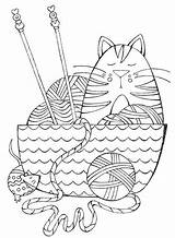 Coloring Yarn Pages Crochet Knitting Dream Knit Books Cat Interweave Adult Printable Getcolorings Getdrawings Colorful Hand Template sketch template