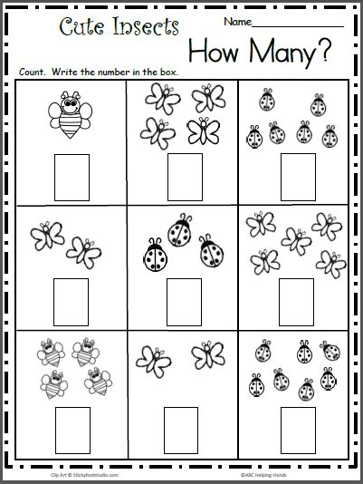 count the cute insects free math worksheet for k madebyteachers
