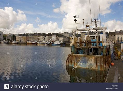 chambre du commerce cherbourg fishing boat cherbourg harbour stock photos