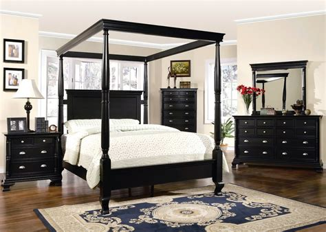 St Regis King Canopy Bed Black Wood 6 Piece Bedroom