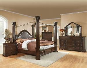 King size brown cherry canopy bedroom set drawer guides for How to buy king size canopy bed