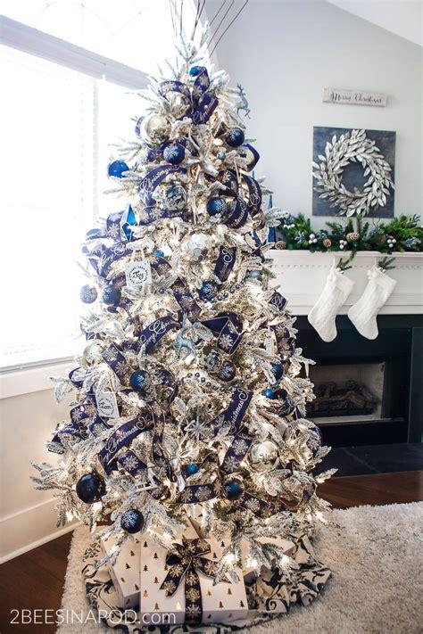 blue  silver christmas tree   living room