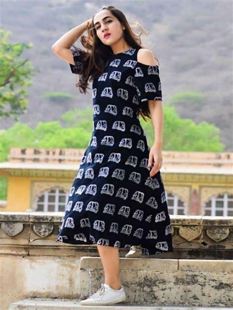cotton black printed indo western cold shoulder kurti