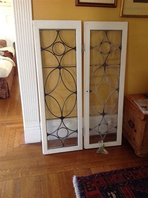 leaded glass cabinet doors two antique leaded glass cabinet doors as window panes