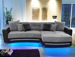 Sofa Mit Led Beleuchtung Und Sound : multimedia sofa larenio hifi wohnlandschaft 322x200 cm grau schwarz wohnbereiche wohnzimmer sofa ~ Bigdaddyawards.com Haus und Dekorationen
