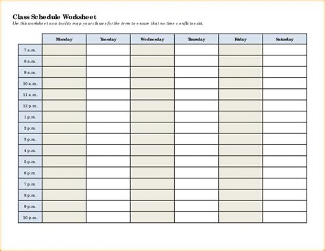 Schedule Template Class Schedule Template Template Business